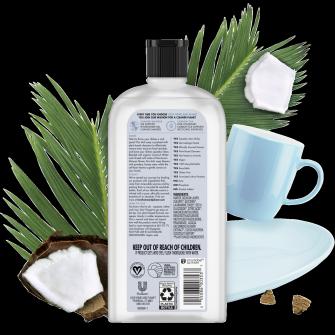 Parte trasera del paquete del Love Home and Planet Dish Liquid Coconut Water & Mimosa Flower