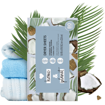 Back of Pack Love Home and Planet Dryer Sheets Coconut Water & Mimosa Flower
