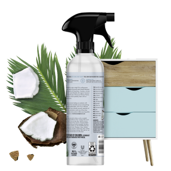 Parte trasera del paquete del Love Home and Planet Multi-surface Cleaner Coconut Water & Mimosa Flower