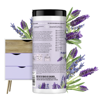 Back of Pack Love Home and Planet Multi-surface Cleaning Wipes Lavender & Argan Oil
