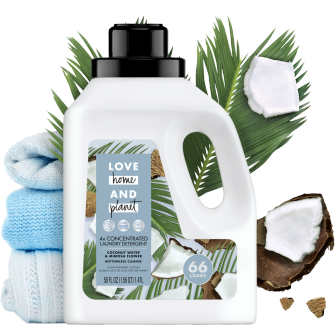 Front of Pack Love Home and Planet Concentrated Laundry Detergent Coconut Water & Mimosa Flower 50oz