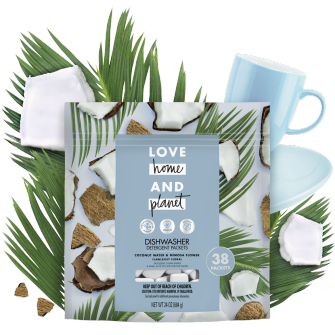Front of Pack Love Home and Planet Dishwasher Detergent Packets Coconut Water & Mimosa Flower