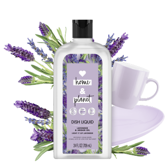 Front of Pack Love Home and Planet Dish Liquid Lavender & Argan Oil