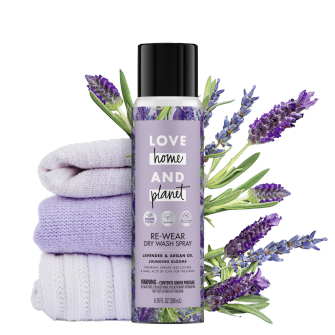 Front of Pack Love Home and Planet Dry Wash Spray Lavender & Argan Oil