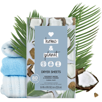 Frente del paquete del Love Home and Planet Dryer Sheets Coconut Water & Mimosa Flower