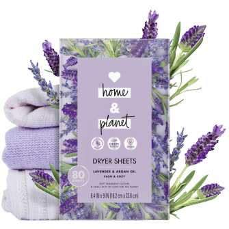 Front of Pack Love Home and Planet Dryer Sheets Lavender & Argan Oil
