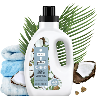 Front of Pack Love Home and Planet Fabric Softener Coconut Water & Mimosa Flower