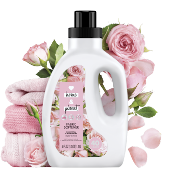 Front of Pack Love Home and Planet Fabric Softener Rose Petal & Murumuru
