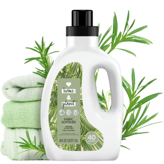 Front of Pack Love Home and Planet Fabric Softener Vetiver & Tea Tree Oil