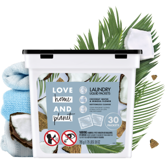 Front of Pack Love Home and Planet Laundry Detergent Liquid Packets Coconut Water & Mimosa Flower