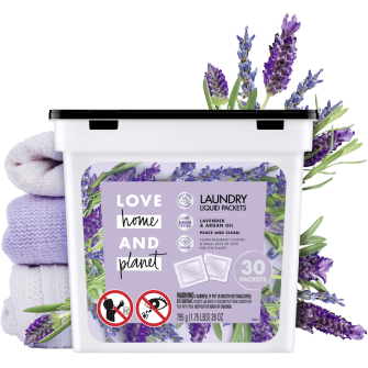 Front of Pack Love Home and Planet Laundry Detergent Liquid Packets Lavender & Argan Oil