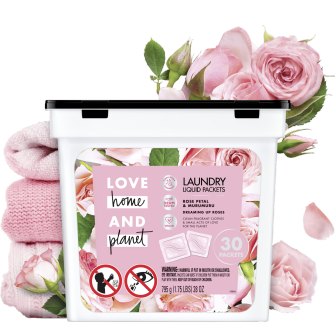 Front of Pack Love Home and Planet Laundry Detergent Liquid Packets Rose Petal & Murumuru