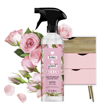 Front of Pack Love Home and Planet Multi-surface Cleaner Rose Petal