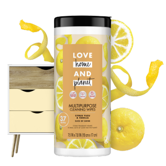Front of Pack Love Home and Planet Multi-surface Cleaning Wipes Citrus Yuzu & Vanilla