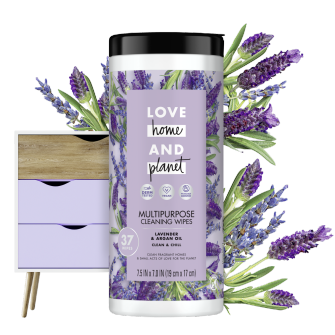 Front of Pack Love Home and Planet Multi-surface Cleaning Wipes Lavender & Argan Oil
